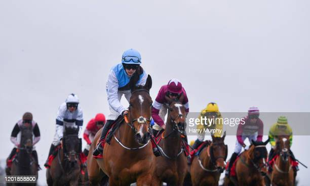 Punchestown Ireland 19 February 2020 Eklat De Rire with Rachael Blackmore up who finished second leads the field during the INH Stallion Owners EBF...