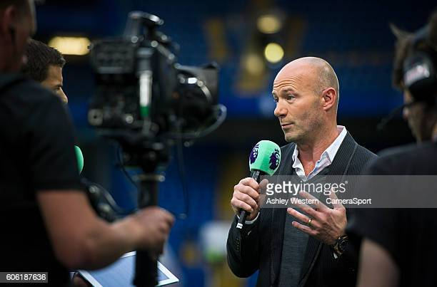 TV pundit Alan Shearer before the Chelsea Liverpool game during the Premier League match between Chelsea and Liverpool at Stamford Bridge on...