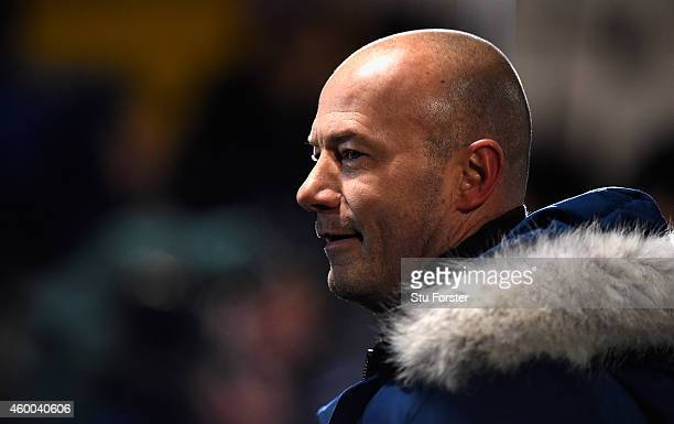 BBC pundit Alan Shearer looks on before the FA Cup Second round match between Hartlepool United and Blyth Spartans at Victoria Park on December 5...