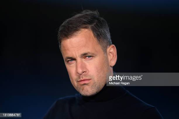Pundit and Former Chelsea Footballer Joe Cole looks on ahead of the Premier League match between Leicester City and West Bromwich Albion at The King...