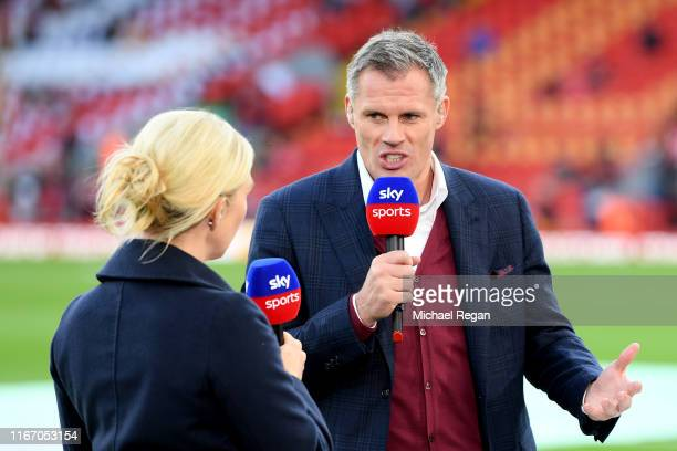 Pundit and former Liverpool player Jamie Carragher talks on Sky Sports ahead of the Premier League match between Liverpool FC and Norwich City at...