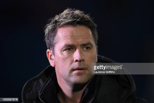 Pundit and former player Michael Owen looks on before the 2019 UEFA European Under21 Championship Qualifier between England U21 and Andorra U21 at...