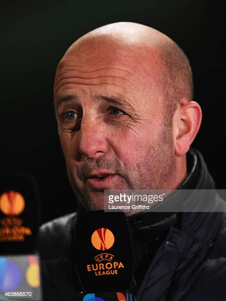 Pundit Gary McAllister is interviewed pitchside prior to the UEFA Europa League Round of 32 first leg match between Celtic FC and FC Internazionale...