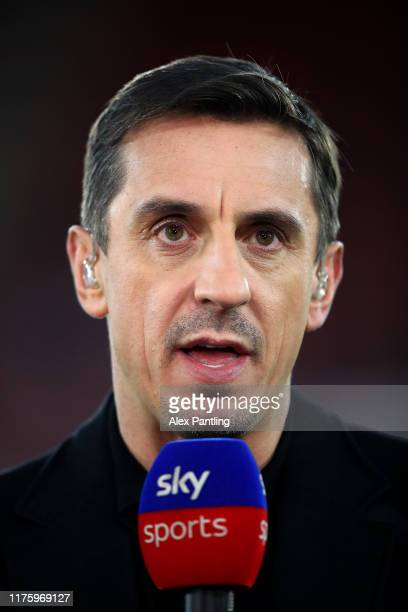 Pundit Gary Neville is seen prior to the Premier League match between Southampton FC and AFC Bournemouth at St Mary's Stadium on September 20 2019 in...