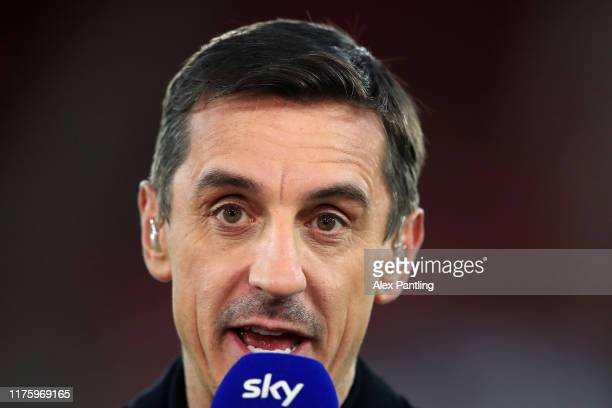 Pundit Gary Neville is seen prior to the Premier League match between Southampton FC and AFC Bournemouth at St Mary's Stadium on September 20, 2019...