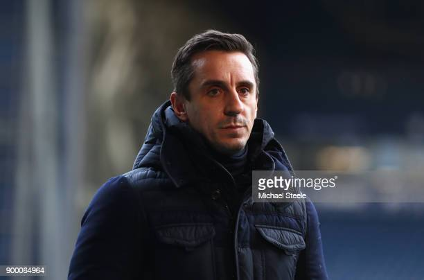 Pundit Gary Neville looks on prior to the Premier League match between West Bromwich Albion and Arsenal at The Hawthorns on December 31 2017 in West...