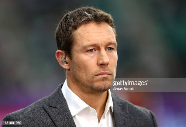 Pundit Jonny Wilkinson looks on prior to the Rugby World Cup 2019 Quarter Final match between England and Australia at Oita Stadium on October 19,...