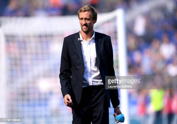 Pundit Peter Crouch looks on prior to the Premier League match between Leicester City and Tottenham Hotspur at The King Power Stadium on September 21...