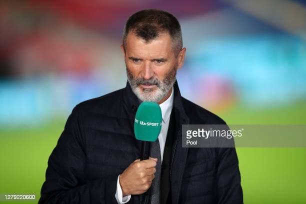Pundit, Roy Keane looks on following the international friendly match between England and Wales at Wembley Stadium on October 08, 2020 in London,...