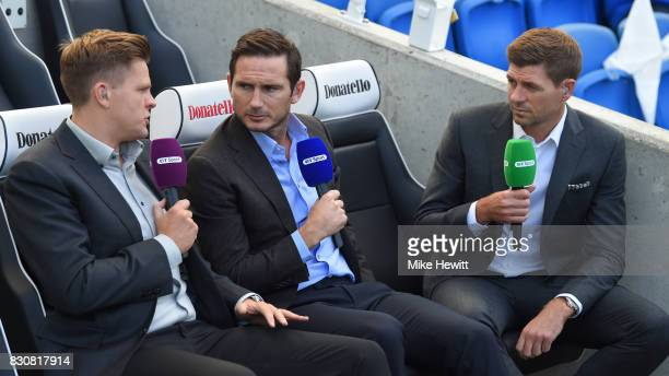 TV pundits Frank Lampard and Steven Gerrard chat to Jake Humphrey ahead of the Premier League match between Brighton and Hove Albion and Manchester...