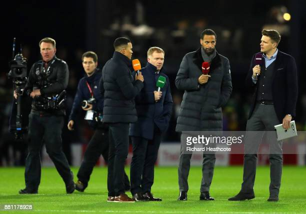 Pundits Jermaine Jenas Paul Scholes and Rio Ferdinand with presenter Jake Humphrey prior to the Premier League match between Watford and Manchester...