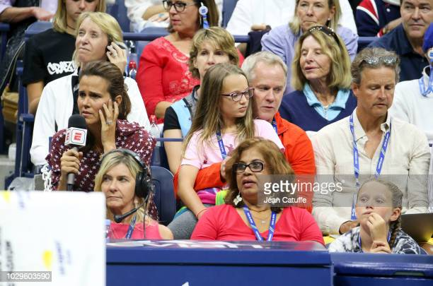 ESPN pundits MaryJo Fernandez Patrick McEnroe and his daughters attend the women's final on day 13 of the 2018 tennis US Open on Arthur Ashe stadium...
