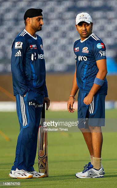 02 MAY 2012 HT Sports IPL Mumbai Indian player Rohit Sharma and Harbhajan Singh during the net practice session on the eve of match between Pune...