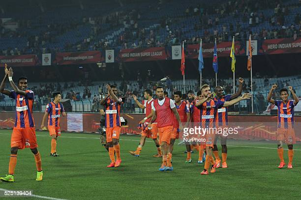 FC Pune City footballers celebrates ISL match at Salt Lake Stadium on November 7 2014 in Kolkata India FC Pune City triumphed 31 to hand leaders...