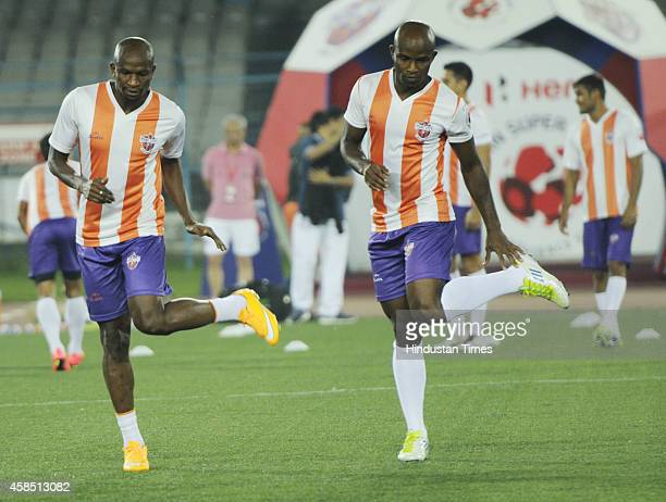 Pune City footballers during their training session in Kolkata on Thursday on the eve of their ISL Match against Atletico de Kolkata on November 6...