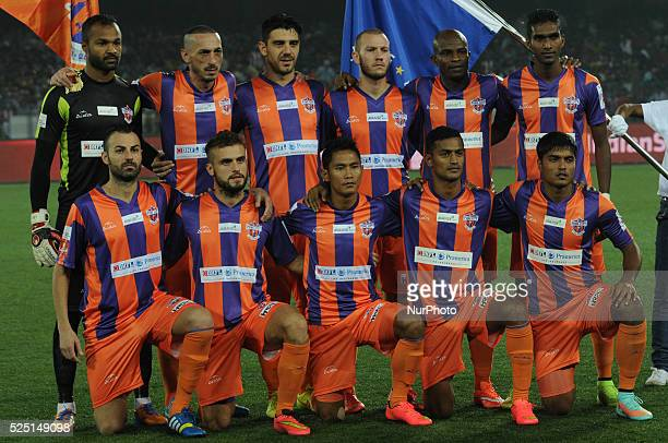 FC Pune City footballers Group photo session ISL match at Salt Lake Stadium on November 7 2014 in Kolkata India FC Pune City triumphed 31 to hand...