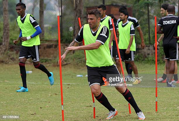 Pune City forward Adrian Mutu during the practice session on the eve of Indian Super League match against Mumbai City FC on October 4 2015 in Pune...