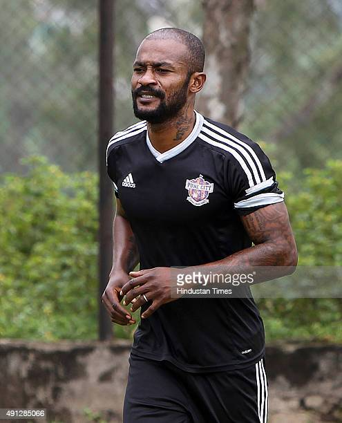 Pune City midfielder Didier Zokora during the practice session on the eve of Indian Super League match against Mumbai City FC on October 4 2015 in...