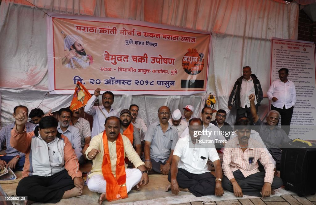 Members Of Maratha Kranti Morcha Indefinite Strike Demanding Reservation Quota For Marathas