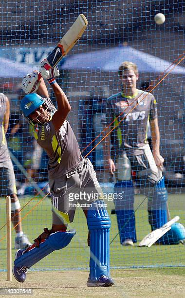 Pune Warriors player Manish Pandey plays a shot during a practice session at Subrata Roy Sahara stadium on April 23 2012 in Pune India Pune Warriors...