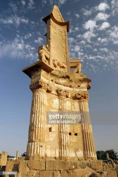 Punic monument still stands 07 July 2005 despite much of the Mediterranean Roman citadel of Sabratha was destroyed by earthquakes during the 4th...