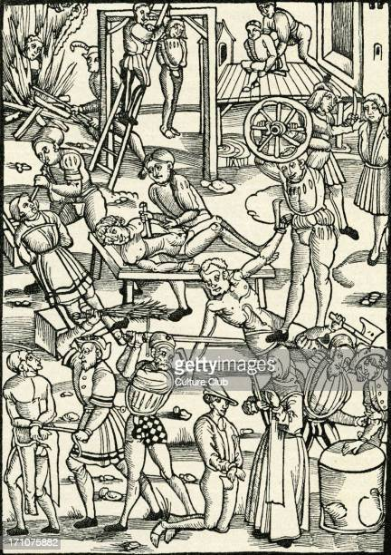 Punishment and executions in the Middle Ages Woodcut from Mainz by Johann Schoffer 1508 Gouging out eyes with knife about to cut off someone's hand...