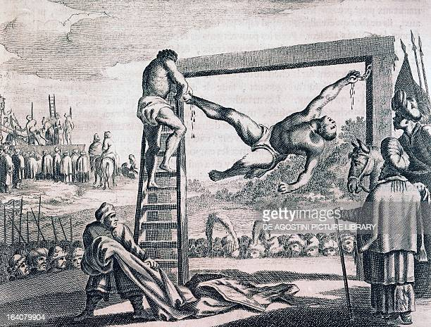Punishment of slaves Muslim custom engraving from the Description of Africa by Olfert Dapper 1686 Africa 17th century Venice Biblioteca Nazionale...