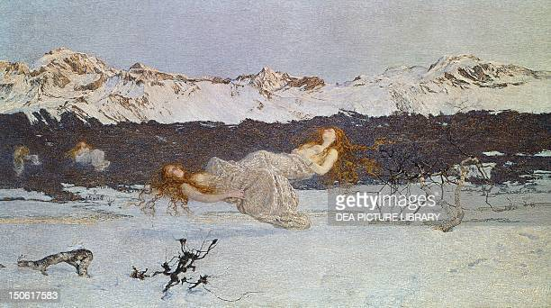 Punishment of the lustful by Giovanni Segantini pastel on cardboard