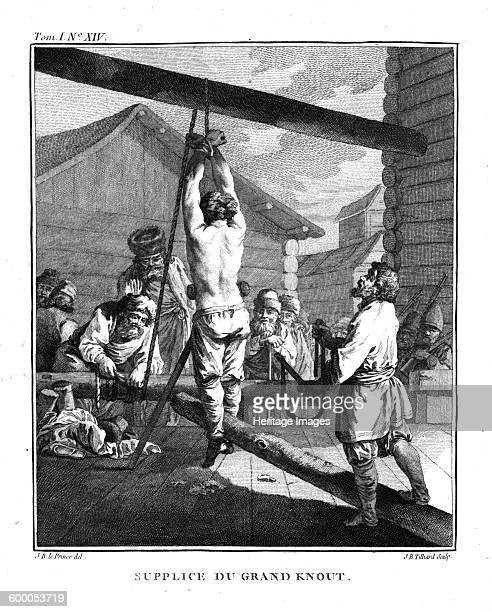 Punishment with a Great Knout From Voyage en Sibérie 1766 Private Collection Artist Le Prince JeanBaptiste