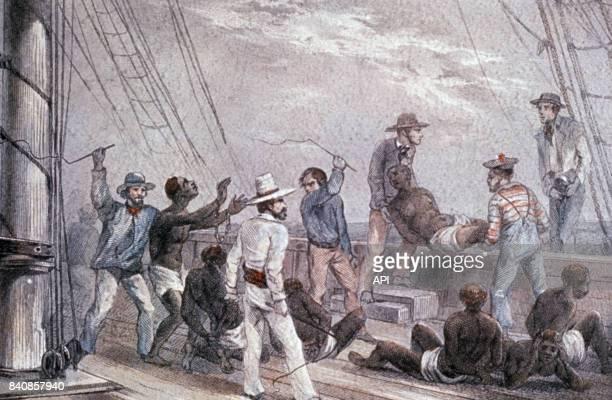 Punition des esclaves sur un navire négrier en Martinique au XIXè siècle