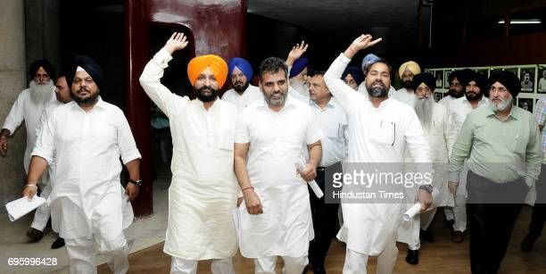 Punjab Akali senior leaders protesting outside Punjab Vidhan Sabha Session on June 14 2017 in Chandigarh India On the first day of the budget session...
