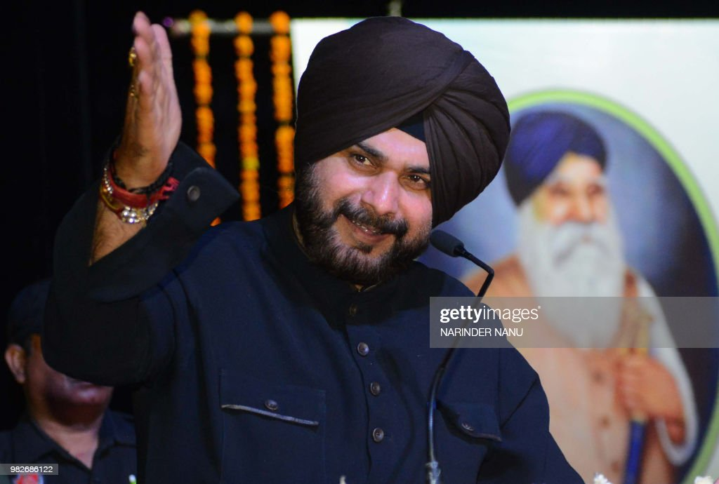 Punjab Cabinet Minister Navjot Singh Sidhu addresses during a function on the occasion of birth anniversary of Master Tara Singh in Amritsar on June..