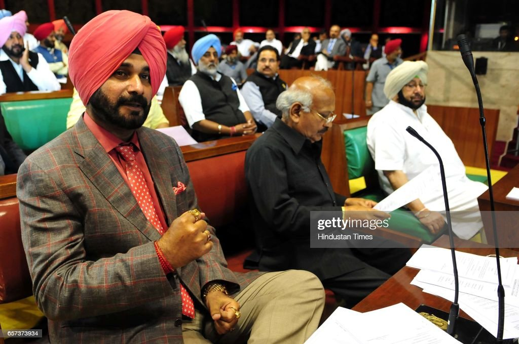 Punjab Cabinet Minister Navjot Singh Sidhu Bharam Mahindra and CM Capt Amrinder Singh on the first day of Punjab Vidhan Sabha session on March 24...