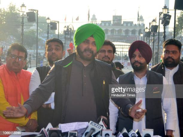Punjab Cabinet Minister Navjot Singh Sidhu speaks to media after attending the groundbreaking ceremony for the Kartarpur Corridor at the...