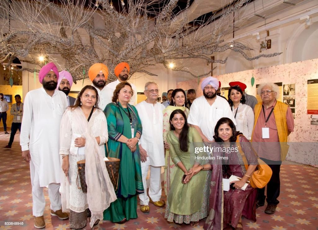 Punjab Chief Minister Capt. Amarinder Singh, Local Bodies Minister Navjot Singh Sidhu, CEO of Partition Museum Kishwar Desai, Notable Indian Poet, Writer, Lyricist and Film Director Gulzar visit the Partition Museum after the inauguration of Partition Museum at Town Hall, on August 17, 2017 in Amritsar, India.