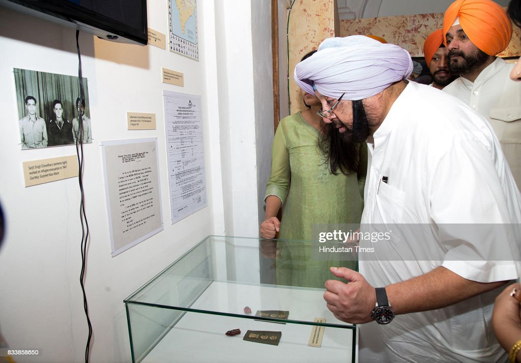 Punjab Chief Minister Capt. Amarinder Singh with Punjab Local Bodies Minister Navjot Singh Sidhu visits the Partition Museum after the inauguration of Partition Museum at Town Hall, on August 17, 2017 in Amritsar, India.