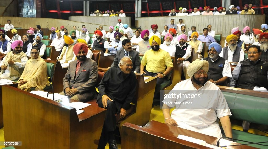 Punjab Chief Minister Capt Amrinder Singh along with cabinet ministers on the first day of Punjab Vidhan Sabha session on March 24 2017 in Chandigarh.