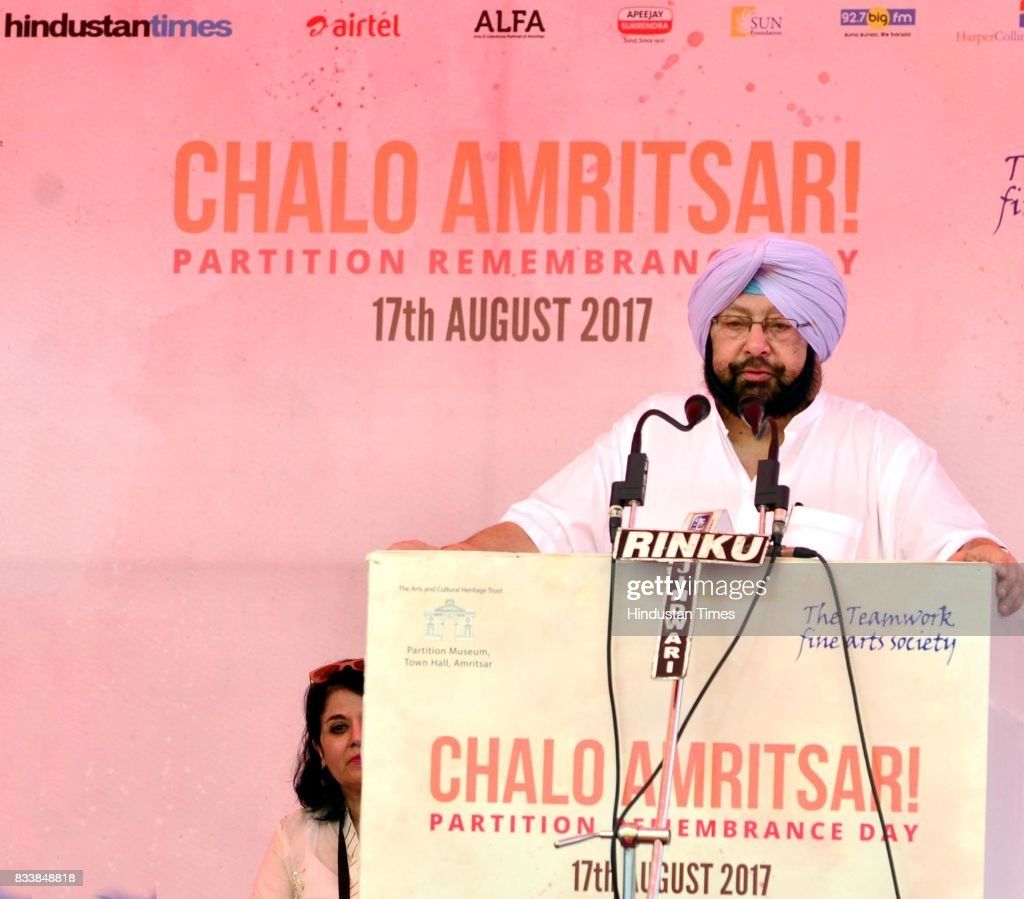 Punjab Chief Minister Captain Amarinder Singh addresses during the inauguration of Partition Museum at Town Hall, on August 17, 2017 in Amritsar, India.