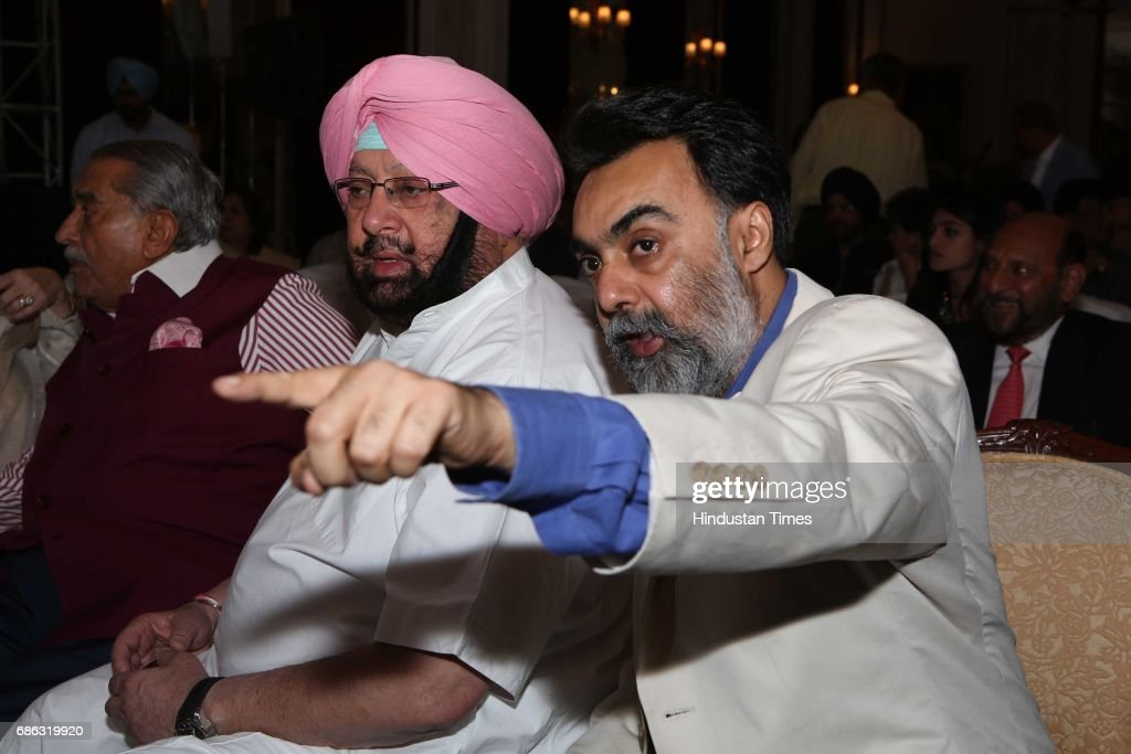 Punjab Chief Minister Captain Amarinder Singh and writer Khushwant Singh during the launch of a book titled 'Captain Amarinder Singh The People&#3
