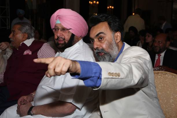 Punjab Chief Minister Captain Amarinder Singh and writer Khushwant Singh during the launch of a book titled 'Captain Amarinder Singh The People