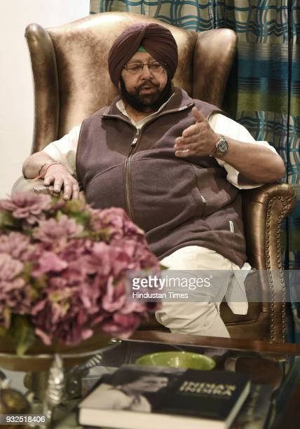 Punjab Chief Minister Captain Amarinder Singh during an interview at his residence on March 14 2018 in Chandigarh India