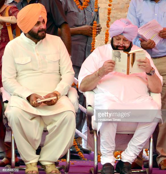 Punjab Chief Minister Captain Amarinder Singh reads the Gulzar book Footprints On Zero Line writing on Partition while Punjab Local Bodies Minister...