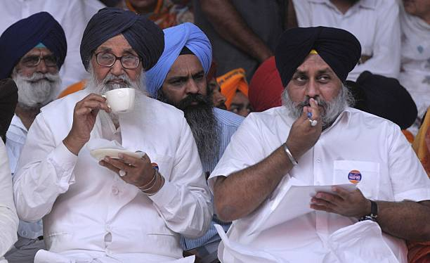 Punjab Chief Minister Parkash Singh Badal and Deputy Chief Minister Sukhbir Singh Badal during the SAD Rally at Talwandi Sabo on the occasion of...