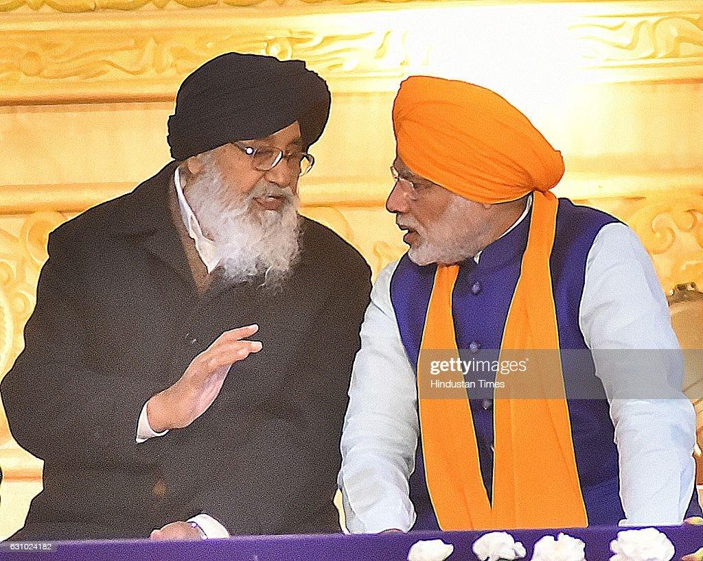 Punjab Chief Minister Parkash Singh Badal and Prime Minister Narendra Modi during the 350th Parkash Utsav of Sri Guru Gobind Singh ji on January 5...