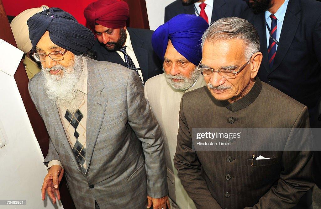 Punjab Chief Minister Parkash Singh Badal assembly speaker Charanjit Sing Atwal and Punjab Governor Shivraj V Patil during the inaugural day of...