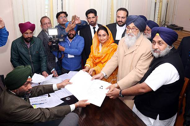 Punjab Chief Minister Parkash Singh Badal files nomination papers from Lambi constituency for assembly elections in MIMIT College at Malout on...
