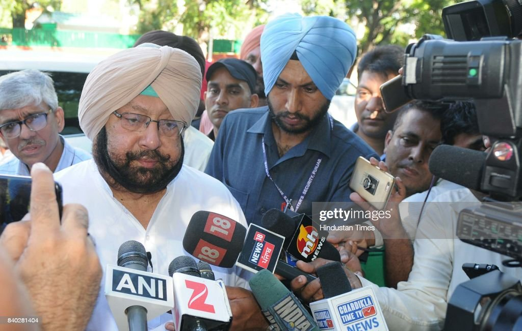 Punjab CM Capt Amarinder Singh comes out after meeting with Governor at Punjab Raj Bhawan on August 28 2017 in Chandigarh India