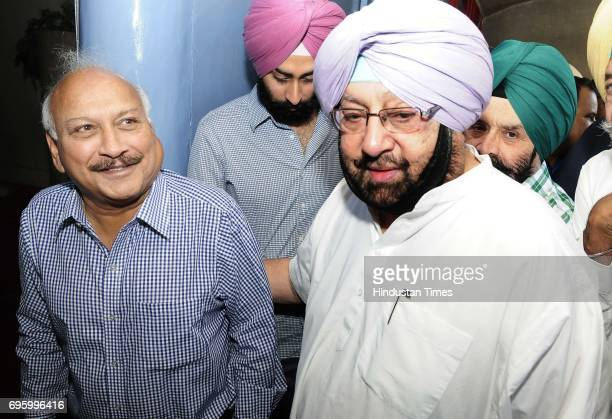 Punjab CM Capt Amrinder Singh and Brahm Mohindra at Punjab Vidhan Sabha Session on June 14 2017 in Chandigarh India On the first day of the budget...
