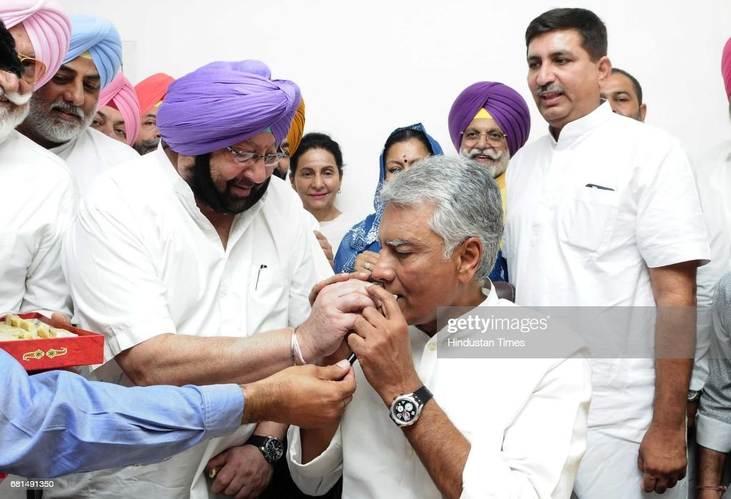 Punjab CM Capt Amrinder Singh with Sunil Jakhar newly elected President of the Punjab Pradesh Congress Committee addressing the gathering during the..