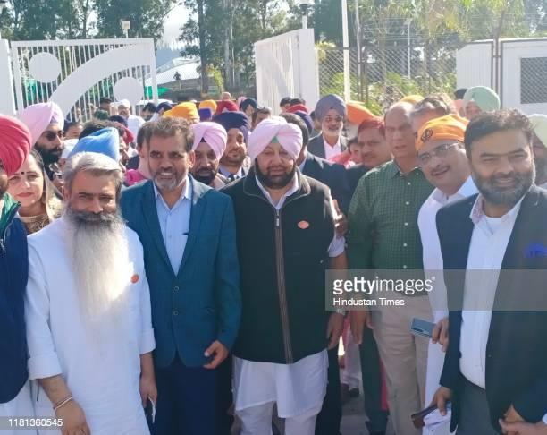Punjab CM Captain Amarinder Singh arrives to pay obeisance at Gurudwara Darbar Sahib at Kartarpur on November 9 2019 in Kartarpur Pakistan Narendra...